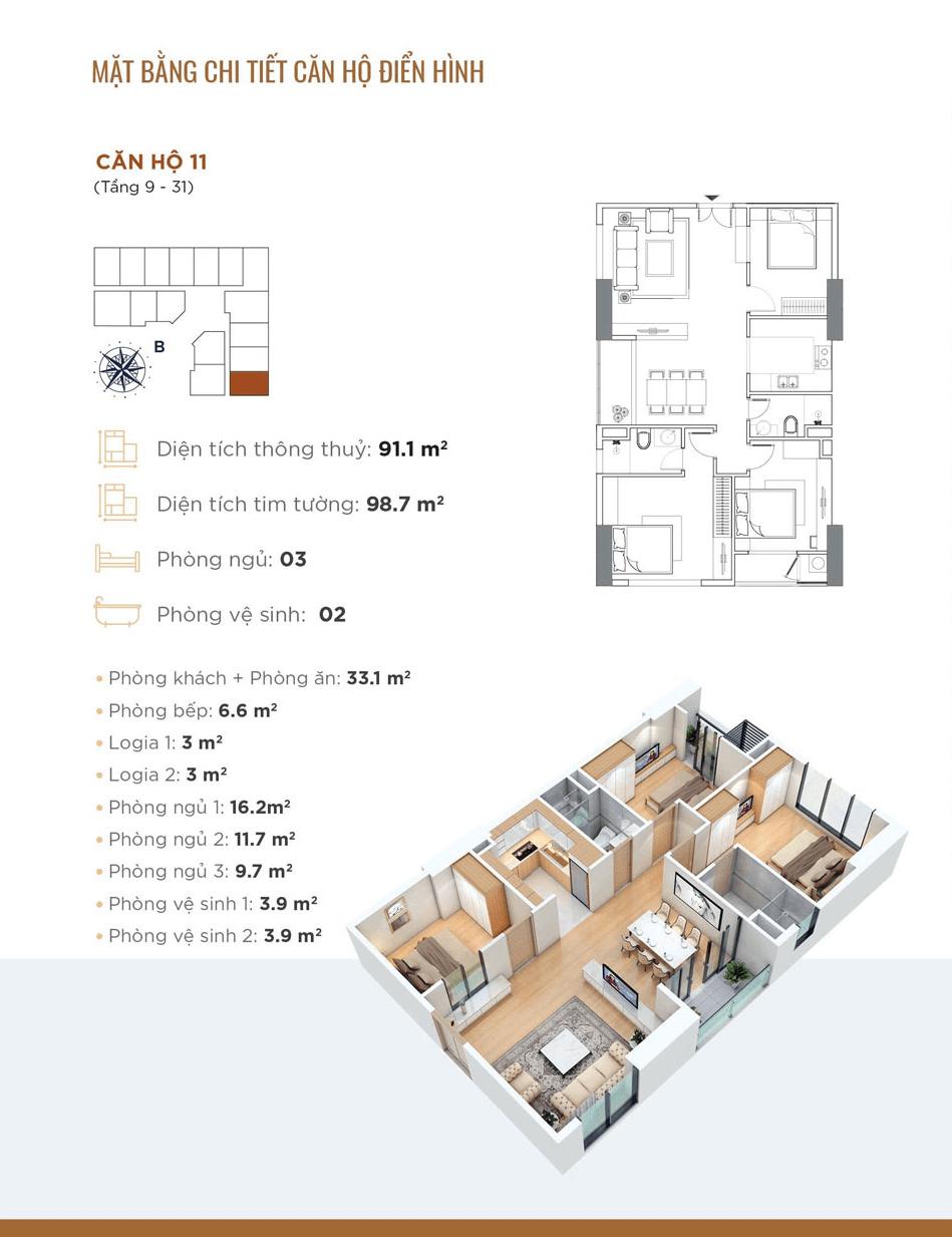 Thiết kế chi tiết căn hộ 11 Chung cư Golden Park Tower