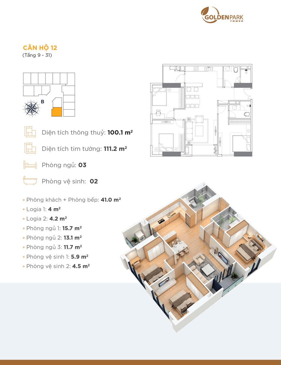 Thiết kế chi tiết căn hộ 12 Chung cư Golden Park Tower
