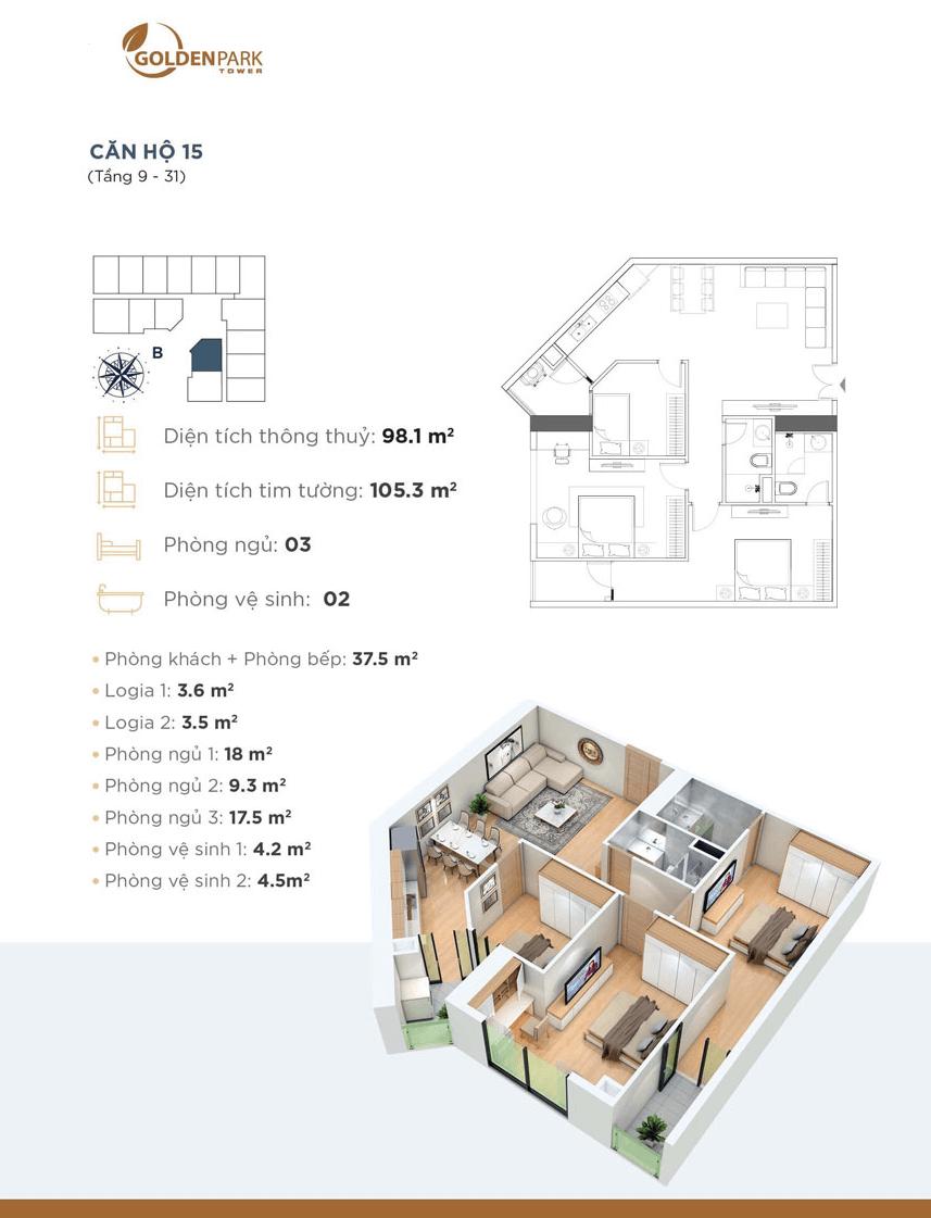 Thiết kế chi tiết căn hộ 15 Dự án Golden Park Tower