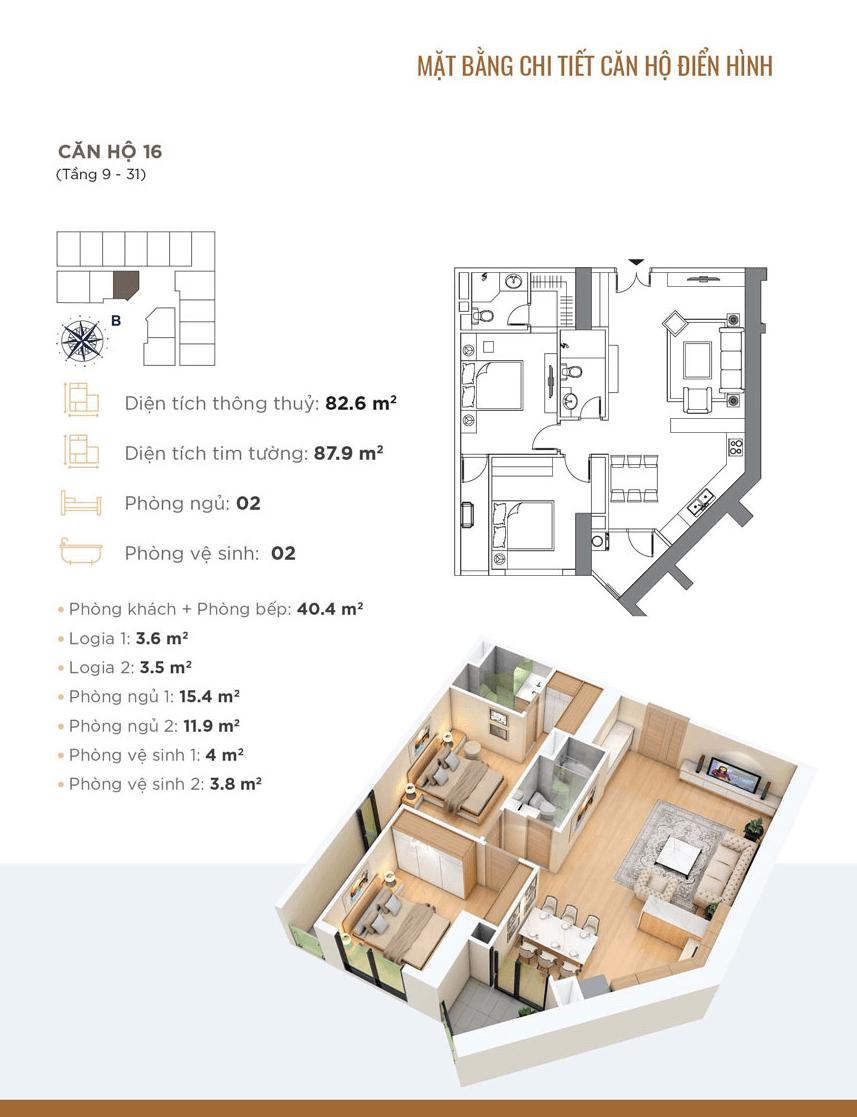 Thiết kế chi tiết căn hộ 16 Dự án Golden Park Tower