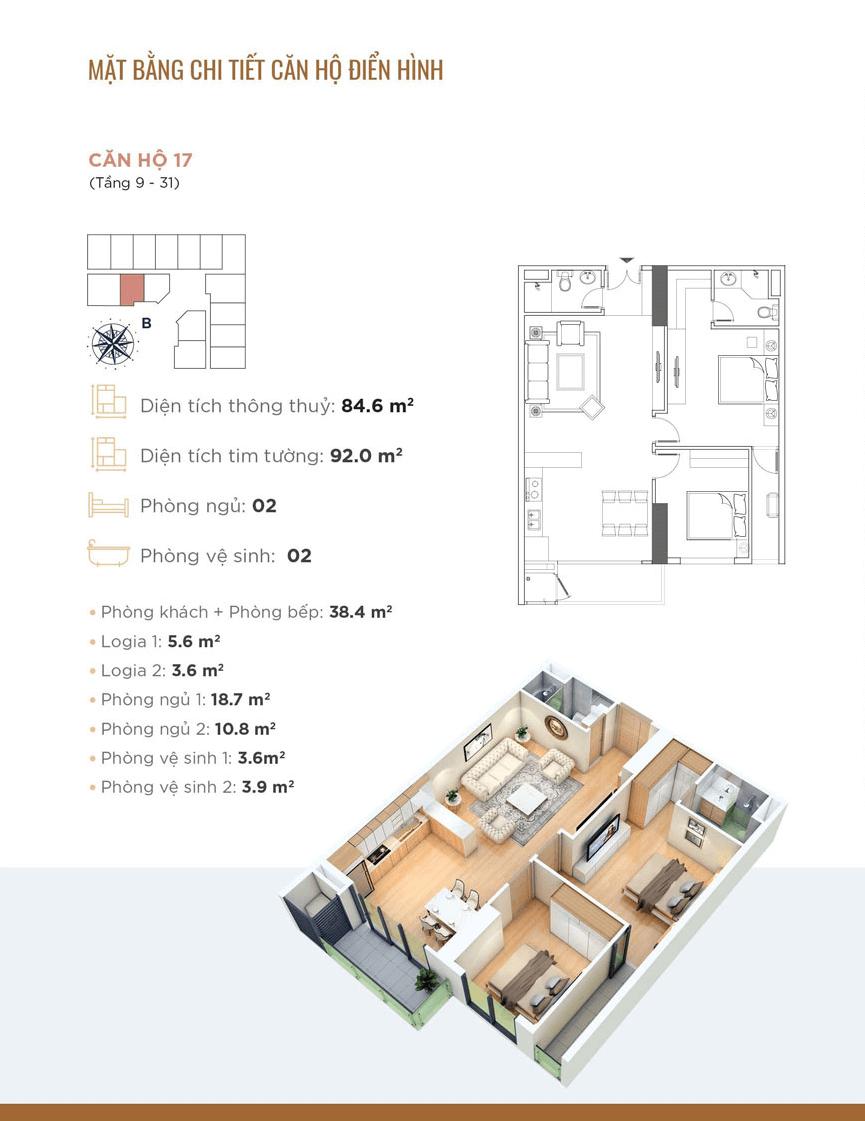 Thiết kế chi tiết căn hộ 17 Dự án Golden Park Tower