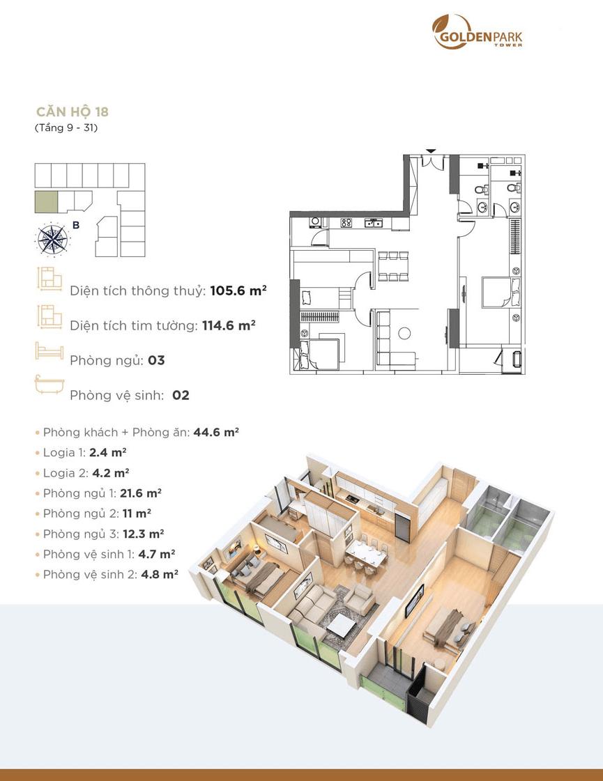 Thiết kế chi tiết căn hộ 18 Dự án Golden Park Tower