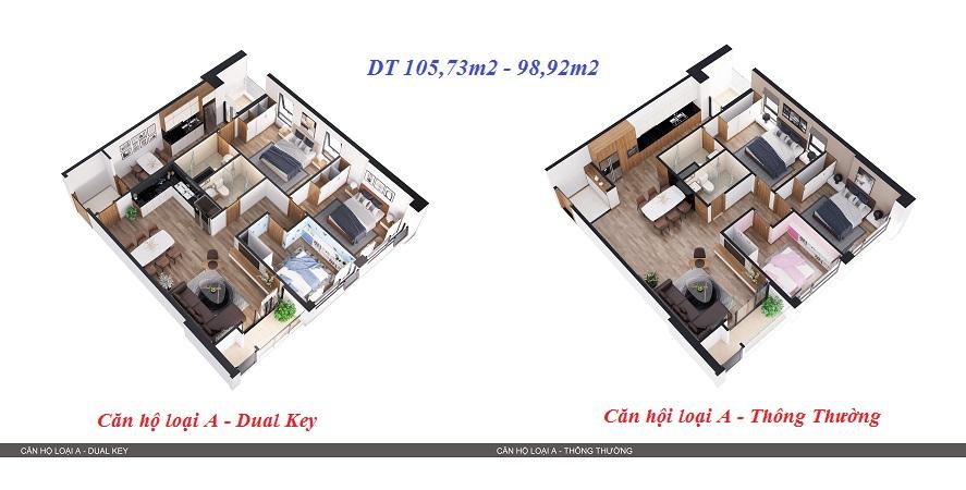 Thiết kế 3D so sánh 2 kiểu căn hộ 5