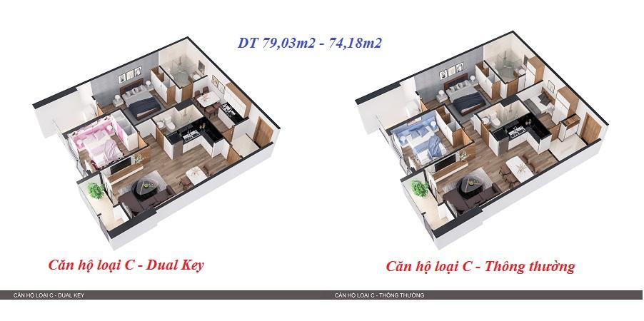 Thiết kế 3D so sánh 2 kiểu căn hộ 2
