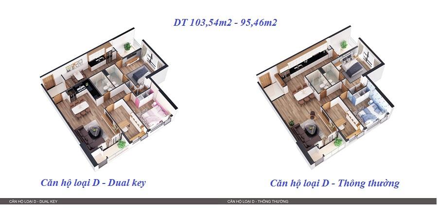 Thiết kế 3D so sánh 2 kiểu căn hộ 1
