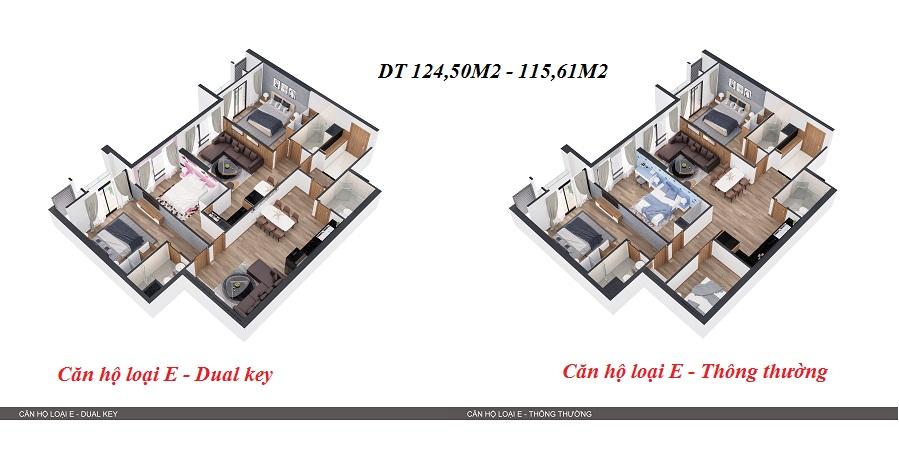 Thiết kế 3D so sánh 2 kiểu căn hộ 4
