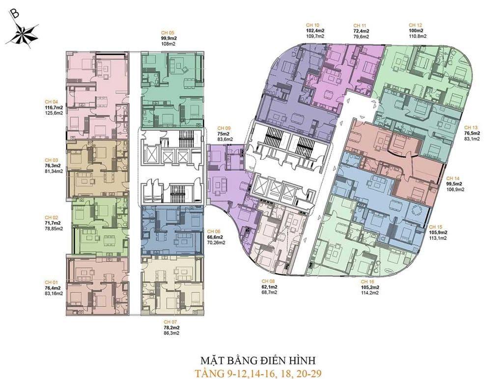 chung cư manhattan tower mặt bằng điển hình