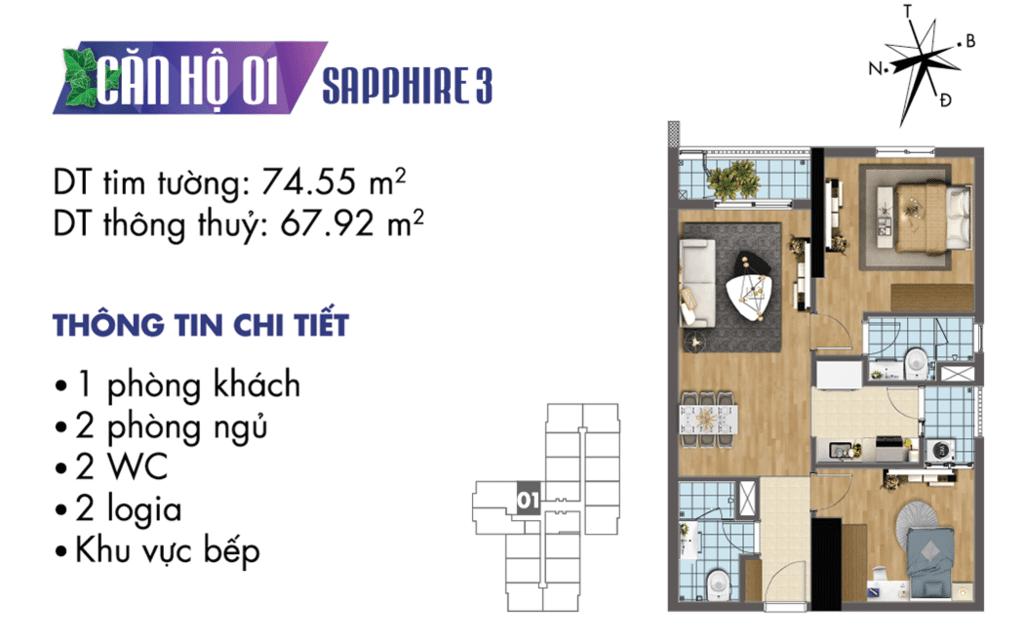 căn 01 tòa S3 Chung cư TNR Goldmark City