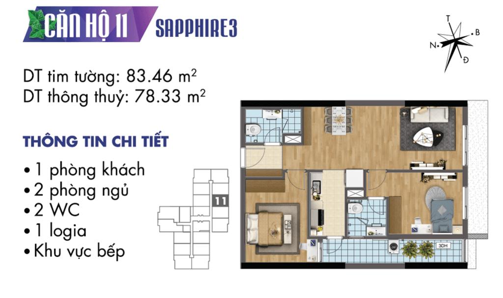 căn 11 tòa S3 Chung cư TNR Goldmark City