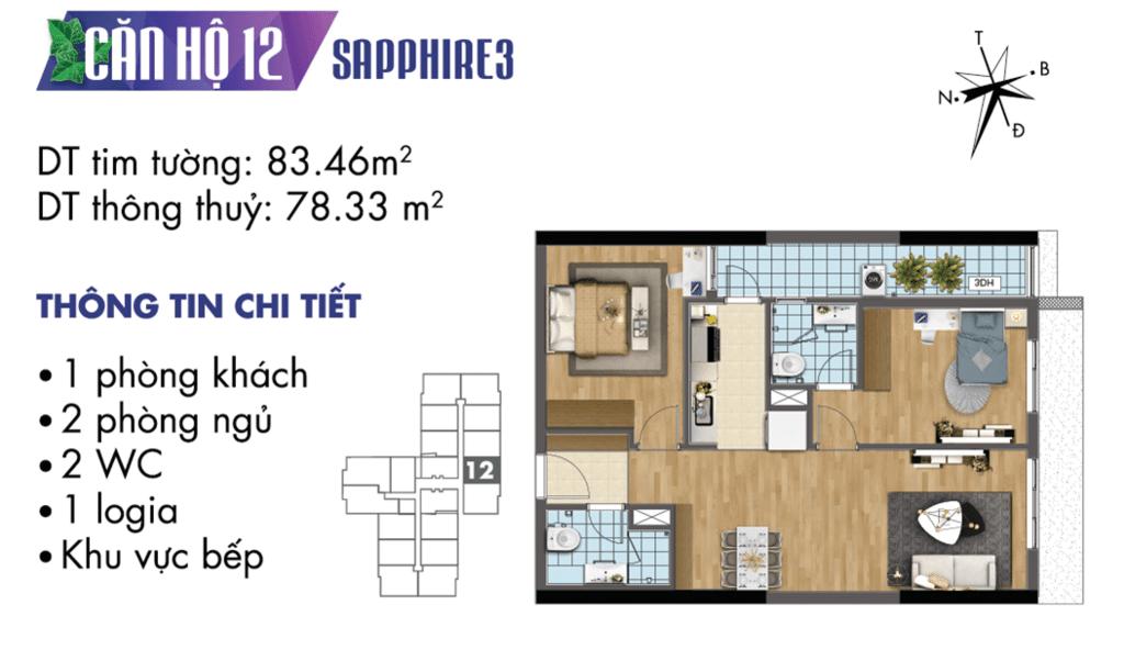 căn 12 tòa S3 Chung cư TNR Goldmark City