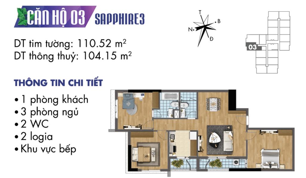 căn 03 tòa S3 Chung cư TNR Goldmark City