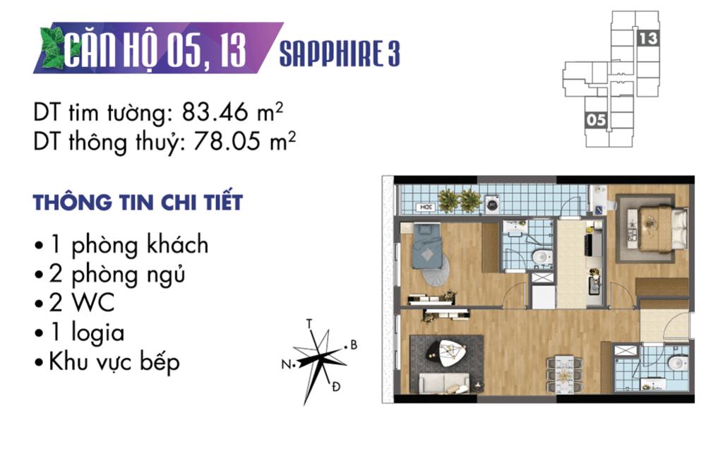 căn 05 và 13 tòa S3 Chung cư TNR Goldmark City