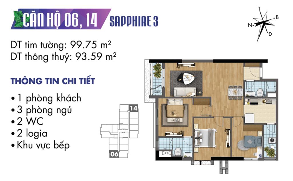 căn 06 và 14 tòa S3 Chung cư TNR Goldmark City