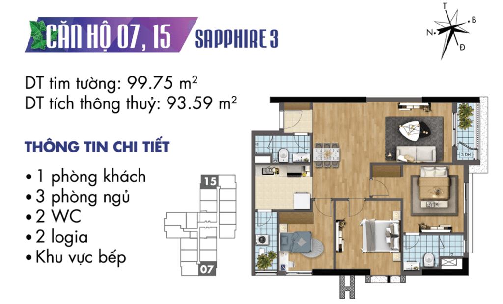 căn 07 và 15 tòa S3 Chung cư TNR Goldmark City