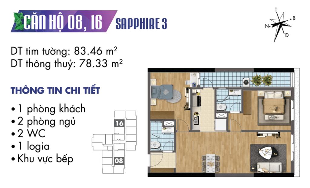 căn 08 và 16 tòa S3 Chung cư TNR Goldmark City