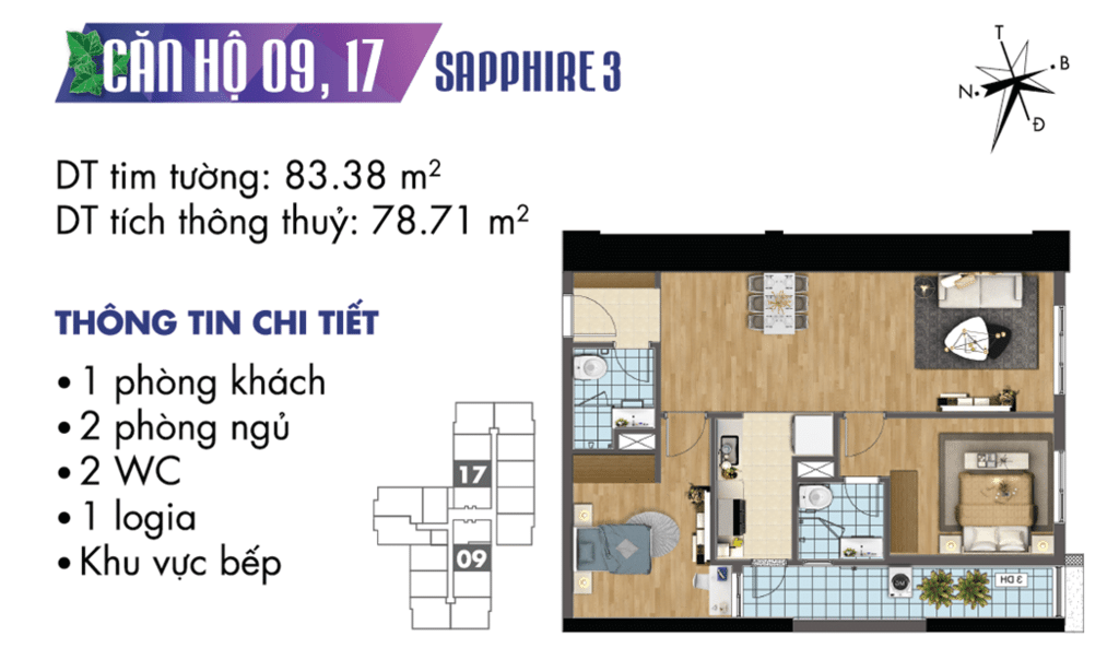 căn 09 và 17 tòa S3 Chung cư TNR Goldmark City
