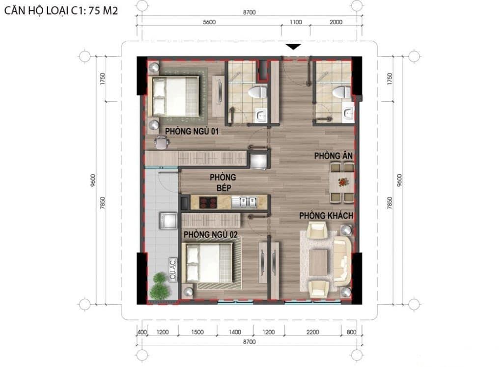 chung cư 43 phạm văn đồng c1 75m2