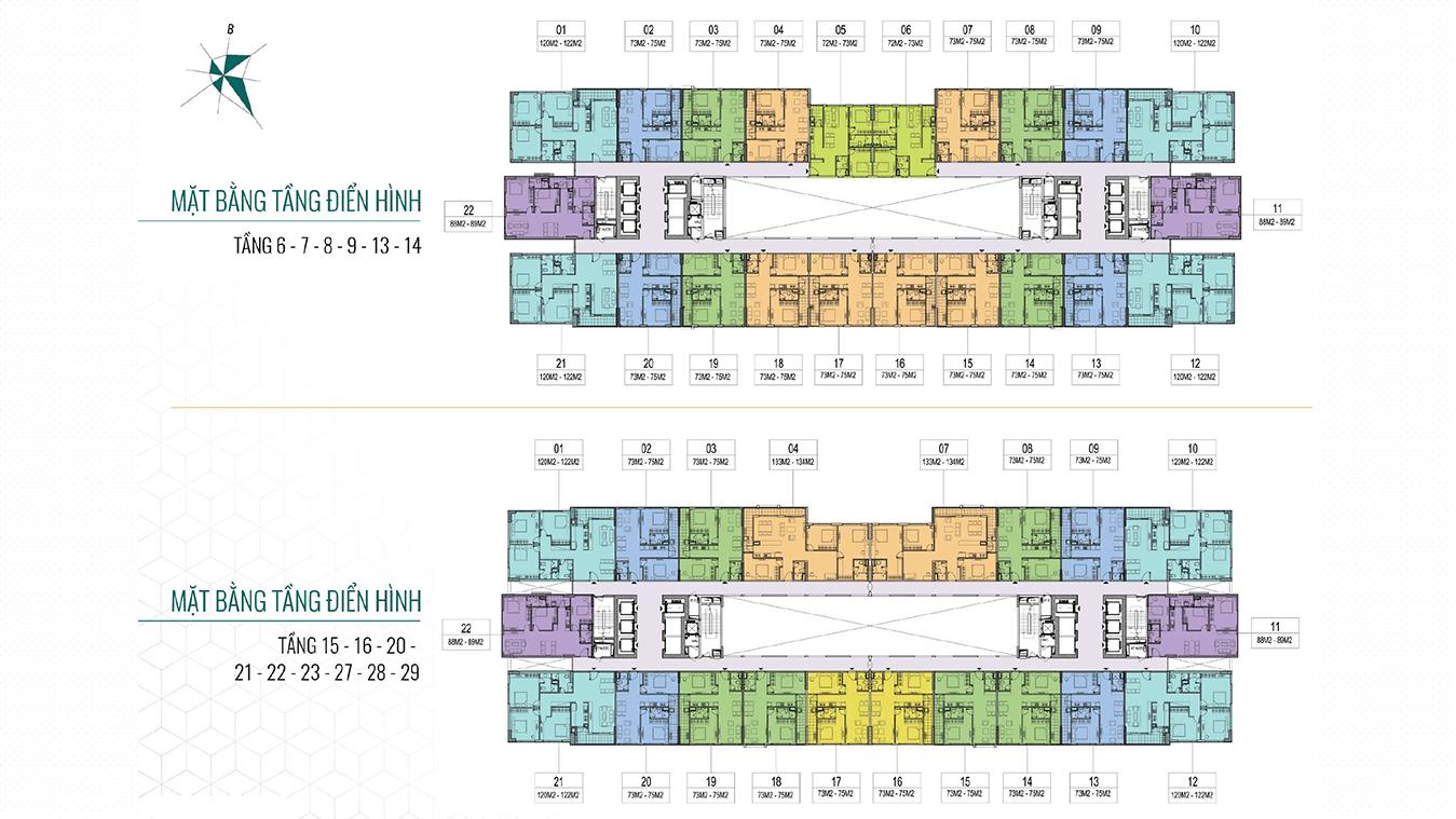 Mặt bằng các tầng có bố trí căn hộ 133m2-134m2 Epic's Home