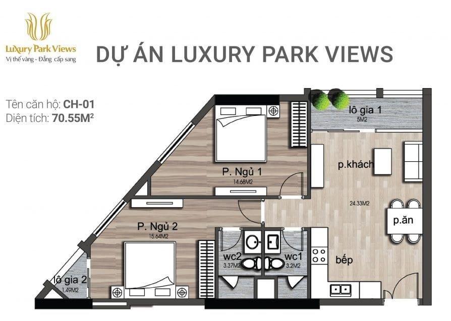 Chi tiết căn hộ số 01 Dự án Luxury Park View Cầu Giấy