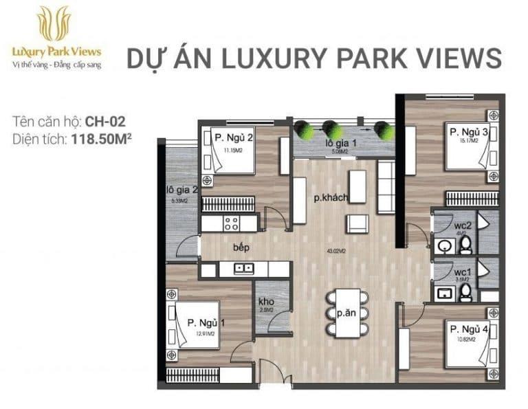 Chi tiết căn hộ số 02 Dự án Luxury Park View Cầu Giấy
