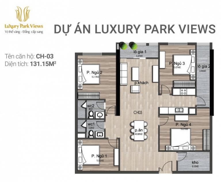 Chi tiết căn hộ số 03 Dự án Luxury Park View Cầu Giấy