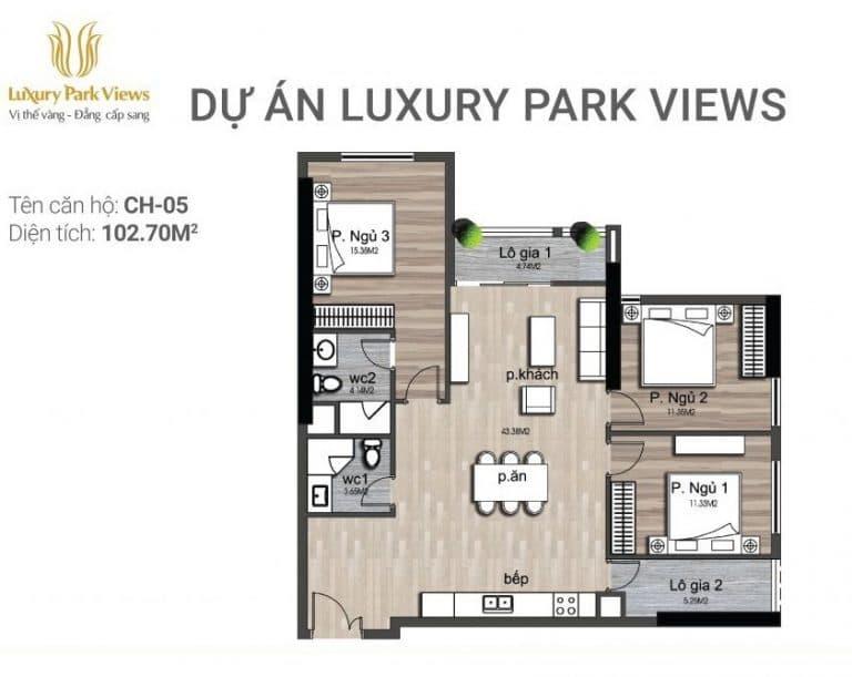 Chi tiết căn hộ số 05 Dự án Luxury Park View Cầu Giấy