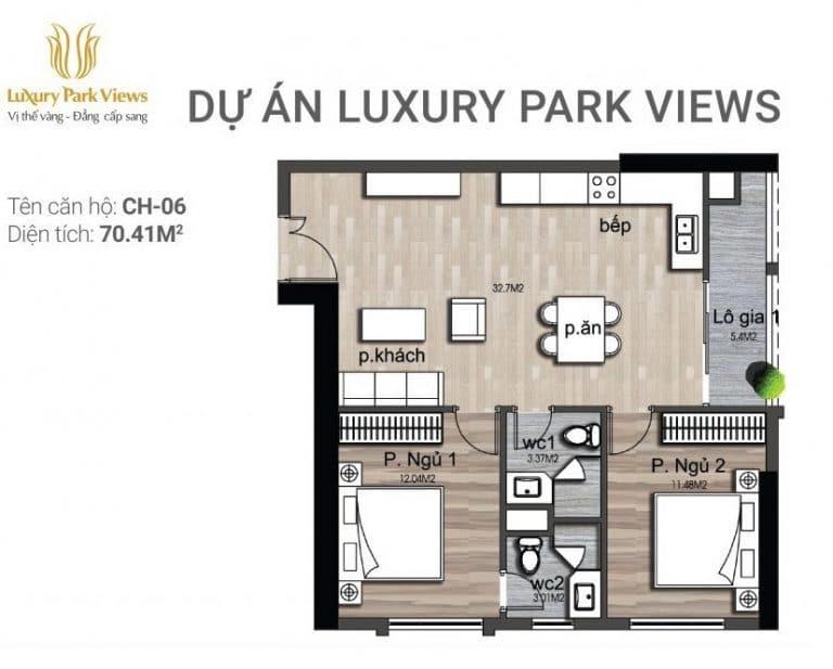 Chi tiết căn hộ số 06 Dự án Luxury Park View Cầu Giấy