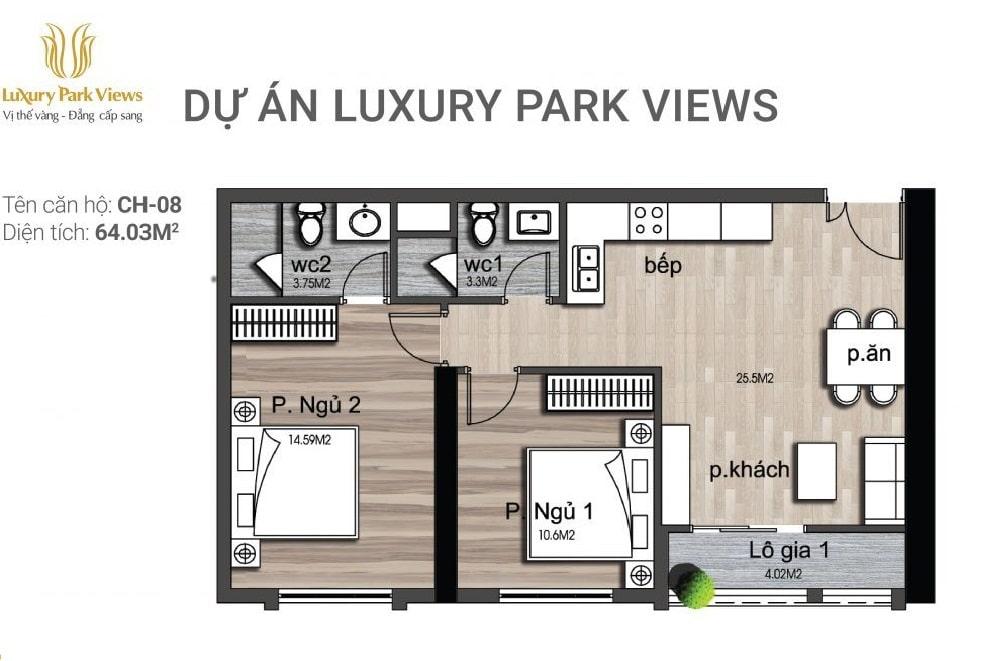 Chi tiết căn hộ số 08 Dự án Luxury Park View Cầu Giấy