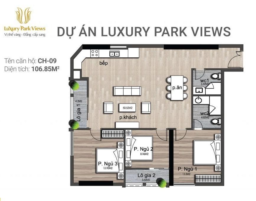 Chi tiết căn hộ số 09 Dự án Luxury Park View Cầu Giấy