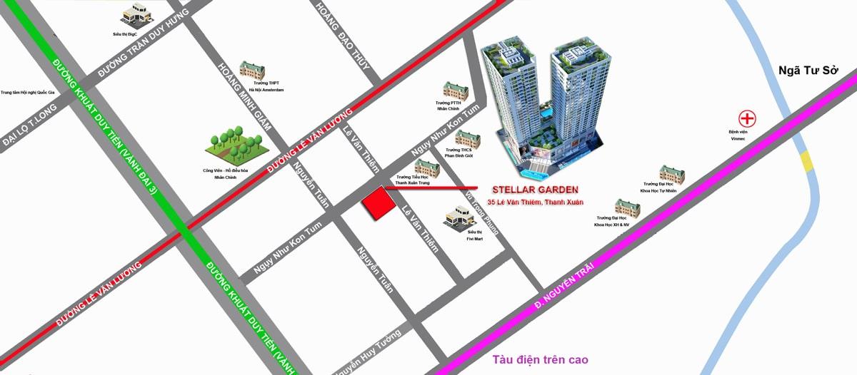 vị trí dự án Chung cư Stellar Garden 35 Lê Văn Thiêm