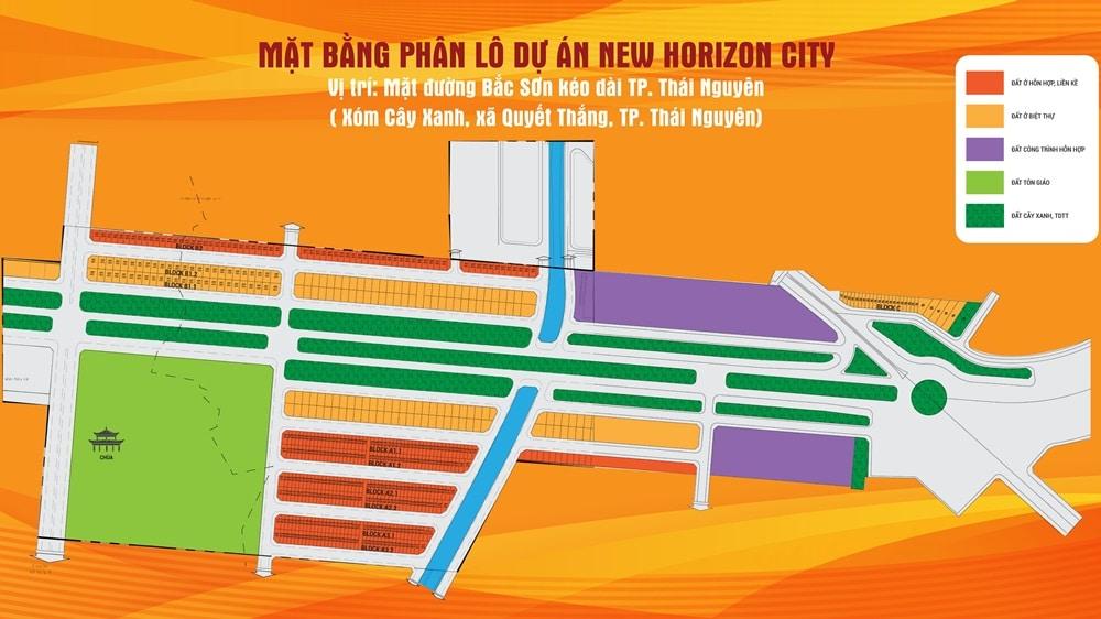 mặt bằng chia lô dự án đất nền new horizon city bắc sơn thái nguyên