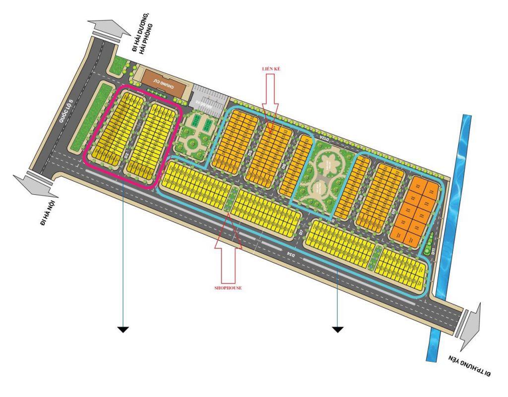 mặt bằng phân lô Dự án Liền kề Biệt thự T&T Phố Nối