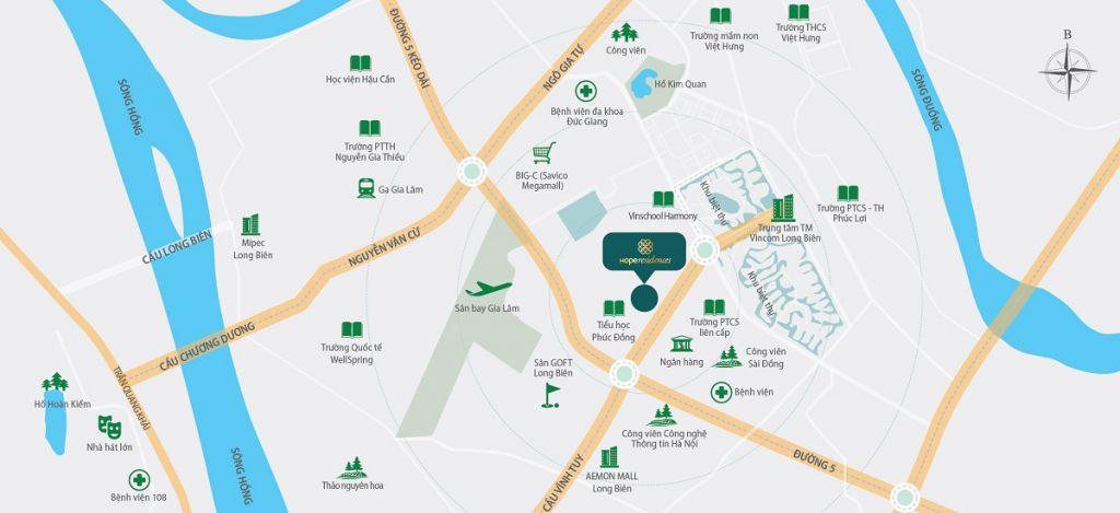 vị trí dự án Chung cư Hope Residences