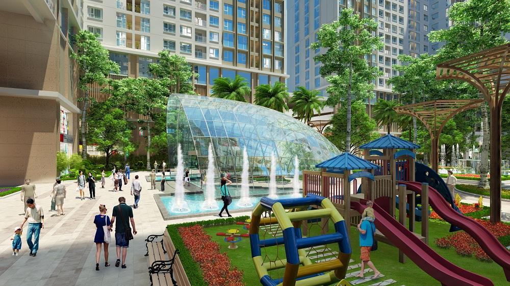 khuôn viên, đường dạo bộ tại dự án Chung cư Aurora Garden Yên Sở