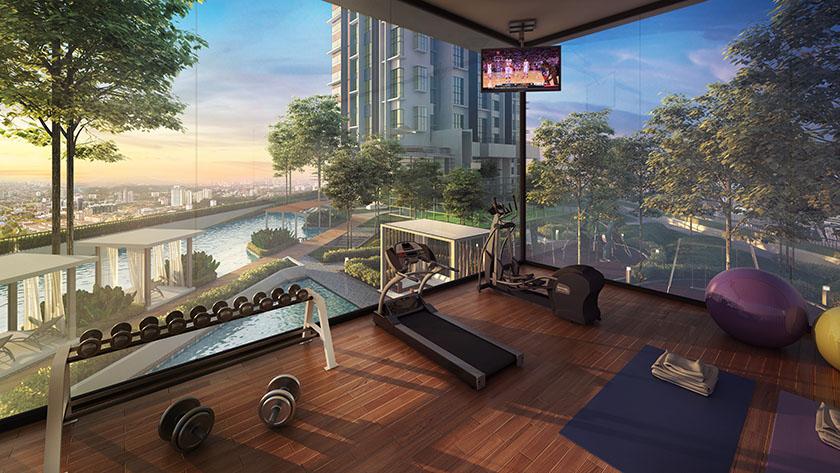 phòng gym sky view tại dự án