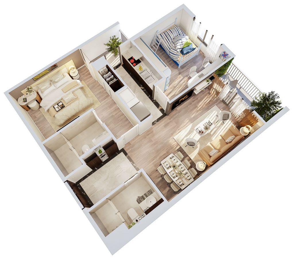concept căn hộ 2 phòng ngủ