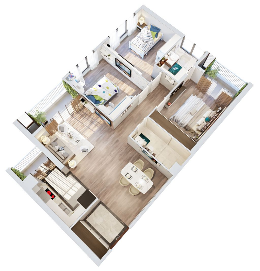 concept căn hộ 3 phòng ngủ
