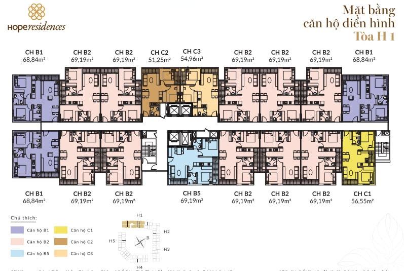 Dự án Nhà ở Xã hội Hope Residence Phúc Đồng mặt bằng dự án tòa H1