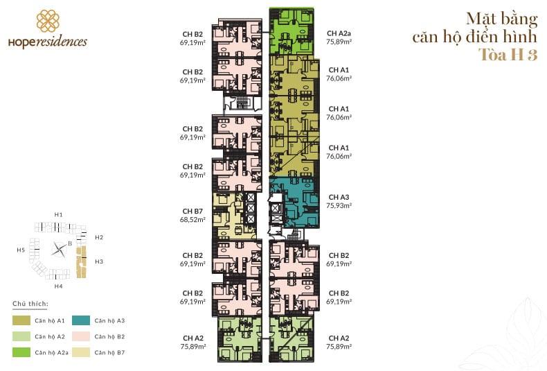 Dự án Nhà ở Xã hội Hope Residence Phúc Đồng mặt bằng dự án tòa H3