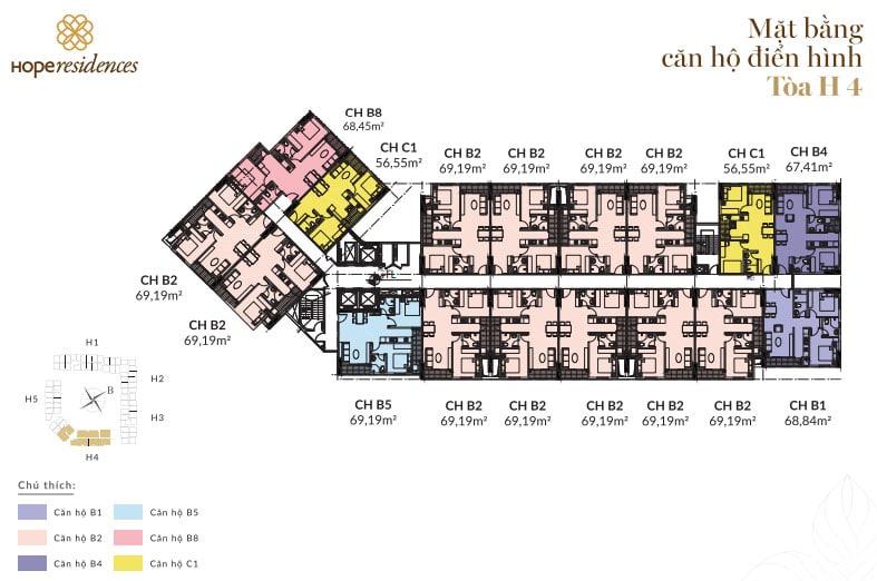 Dự án Nhà ở Xã hội Hope Residence Phúc Đồng mặt bằng dự án tòa H4