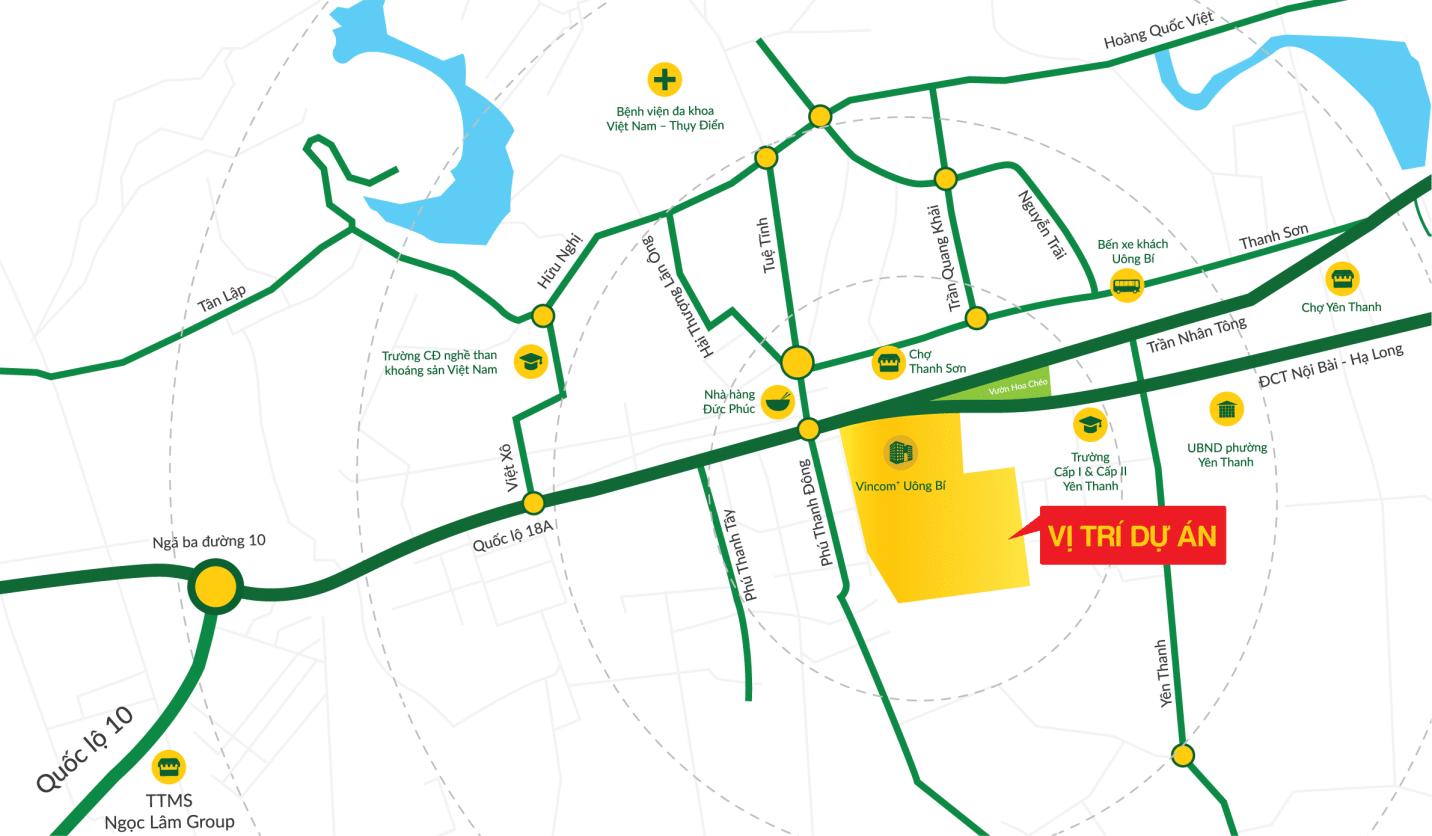 vị trí dự án đất nền tân thành uông bí new city uông bí