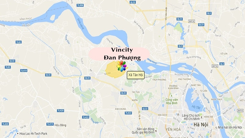 vị trí dự án vincity đan phượng