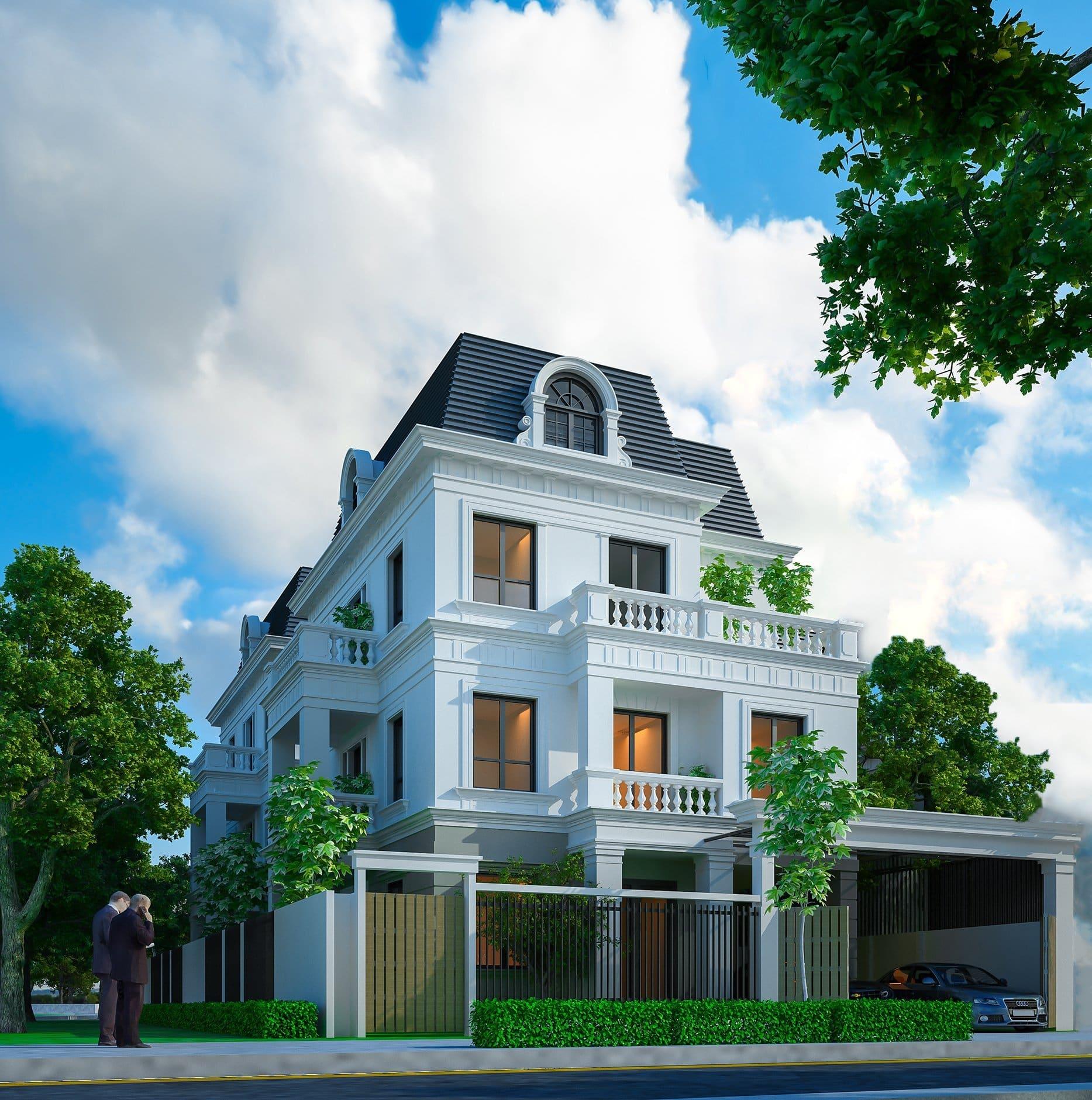 Trong 48 sản phẩm thấp tầng có 5 căn Biệt thự Rose Town đẳng cấp với thiết kế 3 tầng + 1 tum mái