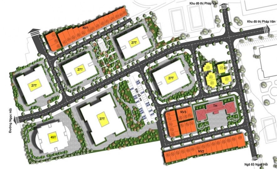Mặt bằng Tổng thể Dự án Chung cư Biệt thự Liền kề Nhà vườn Xuân Mai Rose Town