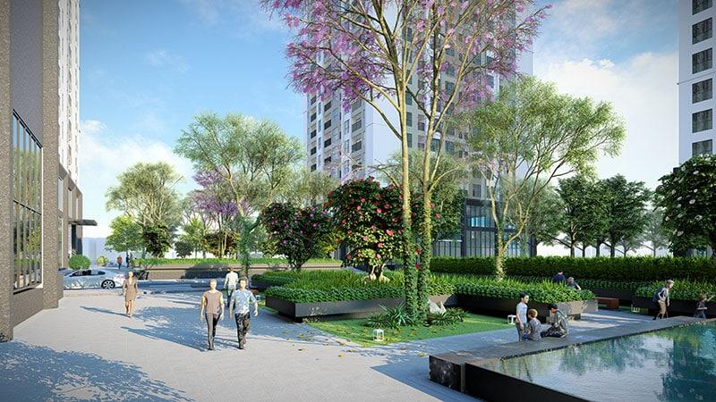 Cảnh quan xanh tươi trong tổ hợp Dự án Rose Town Ngọc Hồi cập nhật