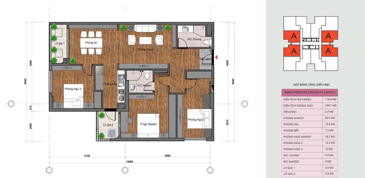 Thiết kế chi tiết căn hộ Loại A Dự án The Legacy Diện tích 109,7m2
