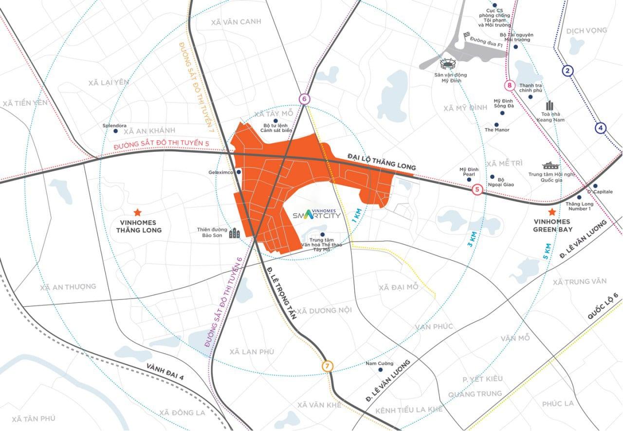 Dự án Vinhomes Smart City Tây Mỗ Đại Mỗ vị trí dự án
