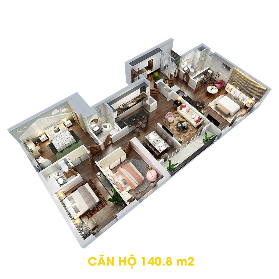 Phối cảnh 3D bóc mái căn hộ Dual Key 140,8m2 Dự án the Tera An Hưng