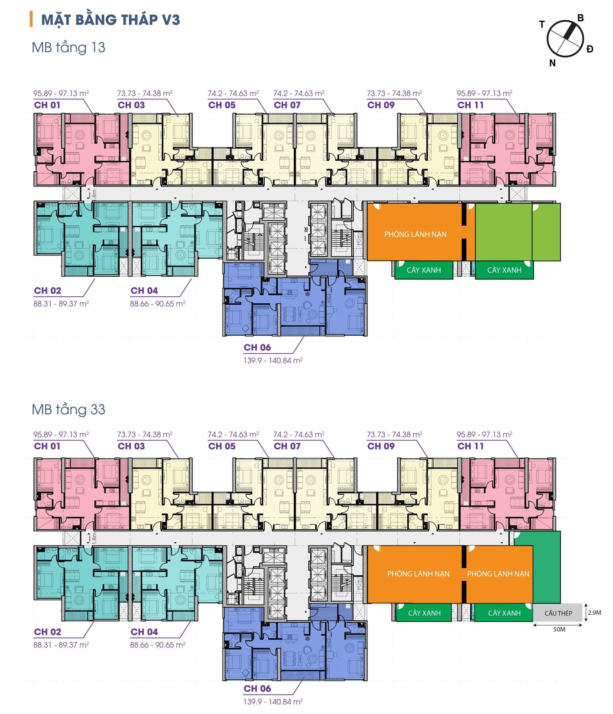 Mặt bằng chung cư The Terra An Hưng Hà Đông v3 tầng 13 vs 33
