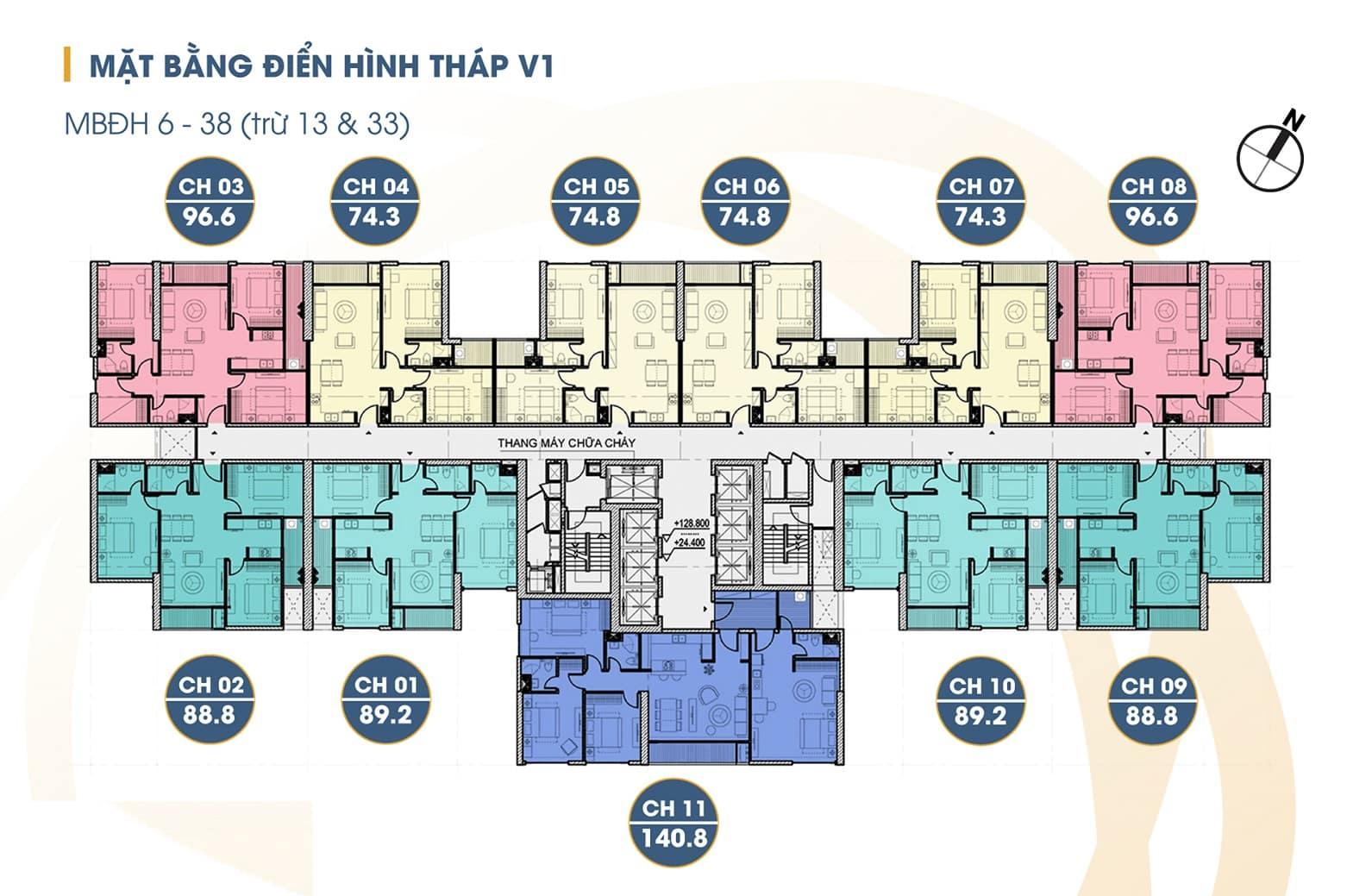 Mặt bằng tòa V1 Chung cư the Terra An Hưng (mở bán tháng 5 năm 2020)